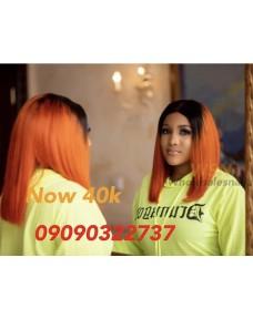 40K Double Drawn Trey Orange Ombre Wig