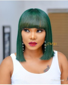 Double Drawn Green Fringe Wig