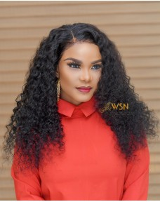 Super Double Drawn Deep Curly Glueless Frontal Wig