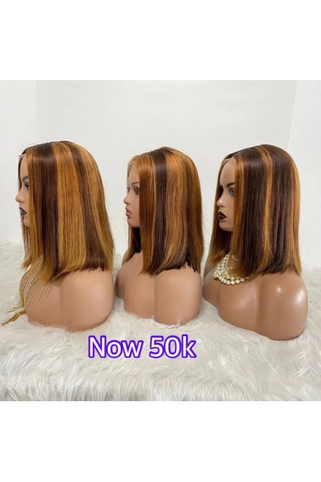 Double Drawn Colored Closure Wig