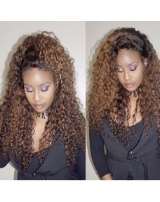 Deep curly Highlighted glueless frontal wig