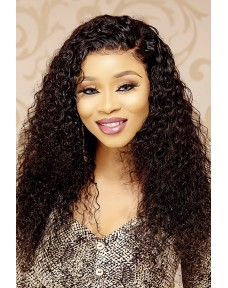 Deep Curly Glueless Frontal Wig (Natural Black)